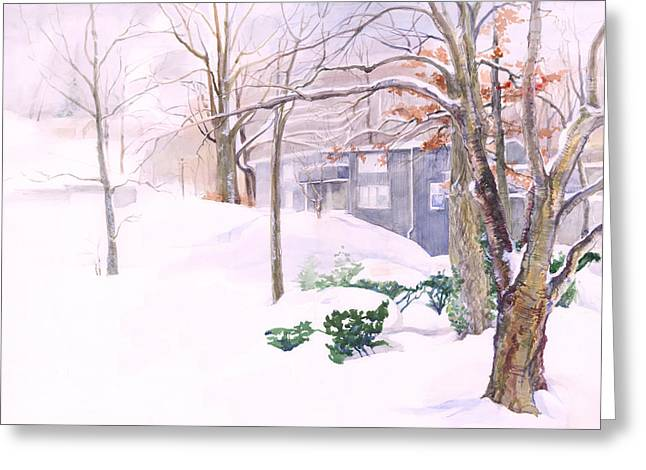 Greeting Card featuring the painting Dressed In Winter White by Nancy Watson