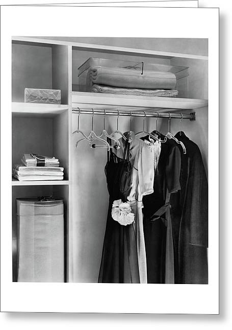 Dresses Hanging In A Closet Greeting Card