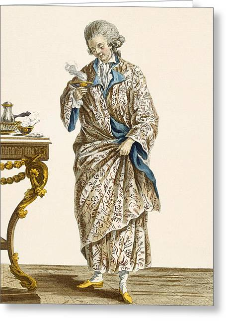 Dressing Gown In Printed Cotton Greeting Card