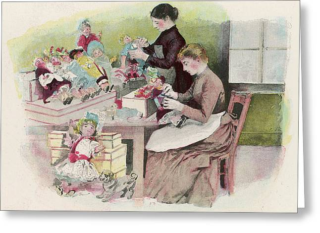 Dressing The Dolls In A French Greeting Card