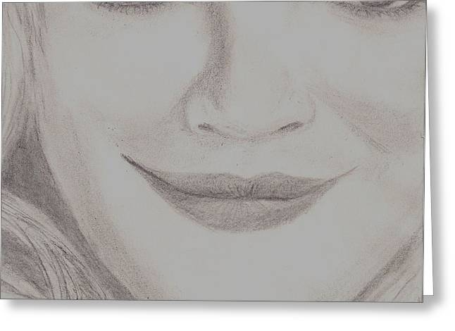 Greeting Card featuring the drawing Drew Barrymore by Christy Saunders Church