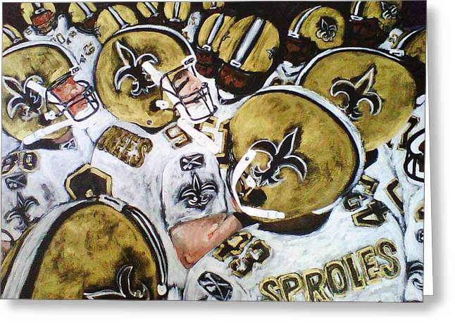 Drew Brees And The New Orleans Saints Greeting Card by Robert Lafaye