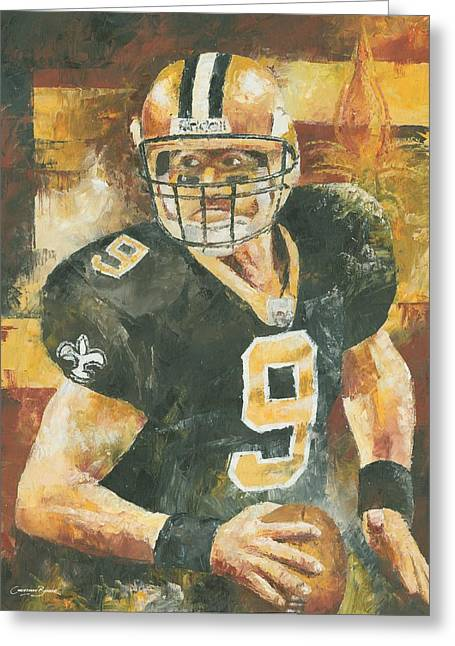 Drew Brees Greeting Card by Christiaan Bekker