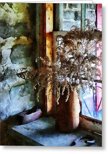 Dried Flowers On Windowsill Greeting Card by Susan Savad