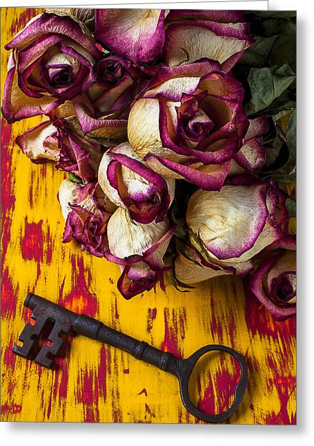Dried Pink Roses And Key Greeting Card by Garry Gay