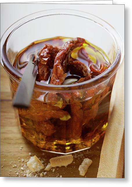 Dried Tomatoes In Oil, Grissini Beside Them Greeting Card