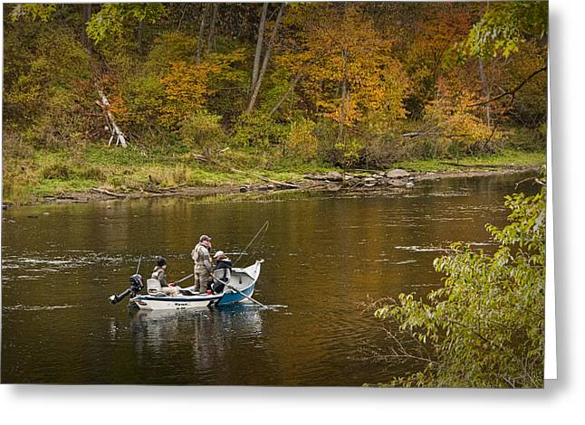 Drift Boat Fishermen On The Muskegon River Greeting Card by Randall Nyhof