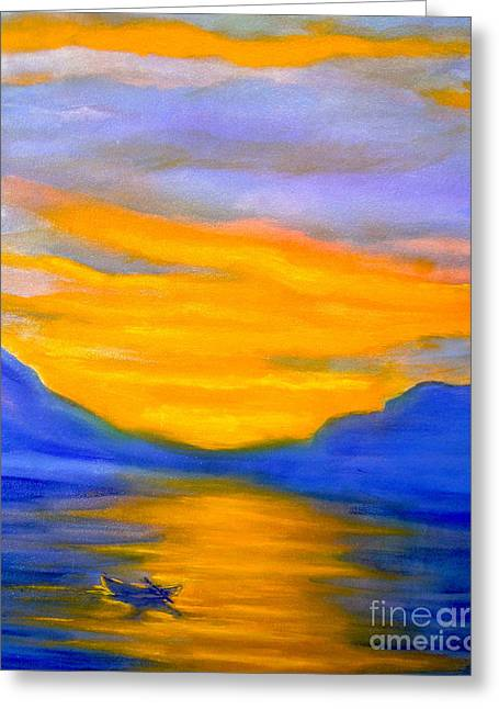 Drifting At Sunset Greeting Card by Nancy Rucker