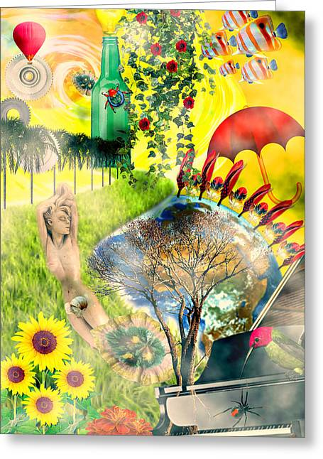 Greeting Card featuring the mixed media Drifting Away by Ally  White