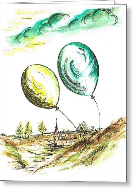 Drifting Balloons Greeting Card by Teresa White