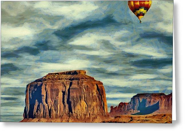 Greeting Card featuring the painting Drifting Over Monument Valley by Jeff Kolker