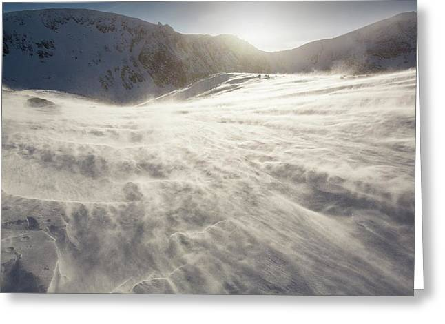 Drifting Snow In Cairngorm Greeting Card