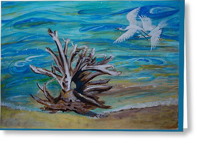Driftwood On Lake Huron Greeting Card by Veronica Rickard