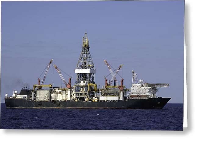 Drill Ship In Blue Ocean Greeting Card