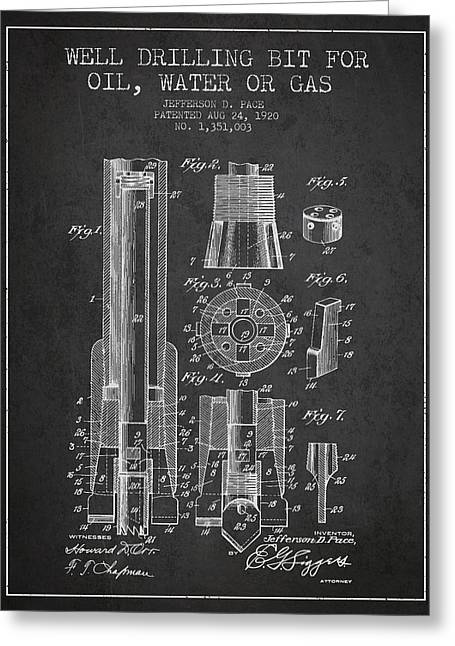 Drilling Bit For Oil Water Gas Patent From 1920 - Dark Greeting Card by Aged Pixel