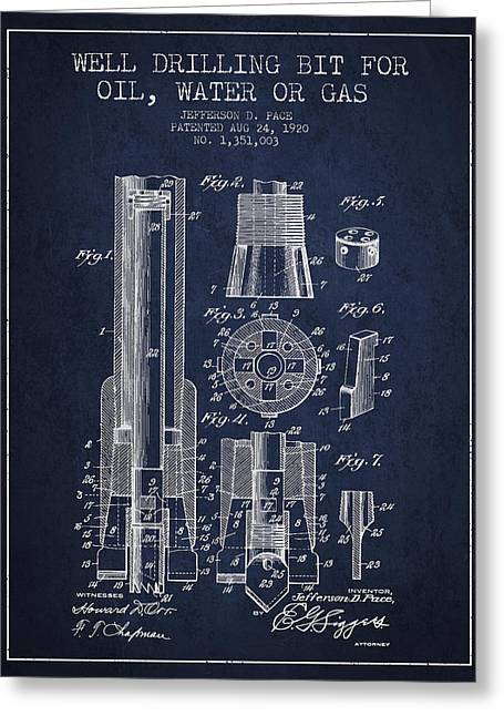 Drilling Bit For Oil Water Gas Patent From 1920 - Navy Blue Greeting Card by Aged Pixel