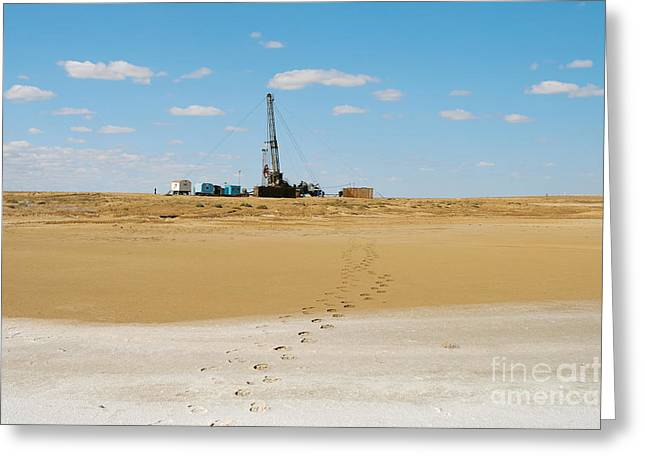 Drilling In The Desert. Greeting Card by Alexandr  Malyshev