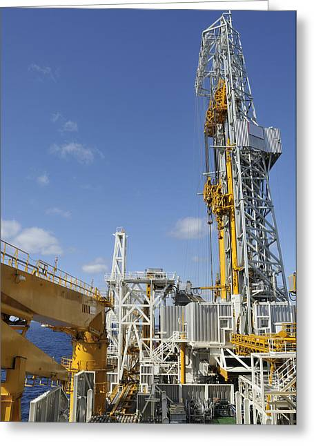 Drillship Deck And Tower Greeting Card