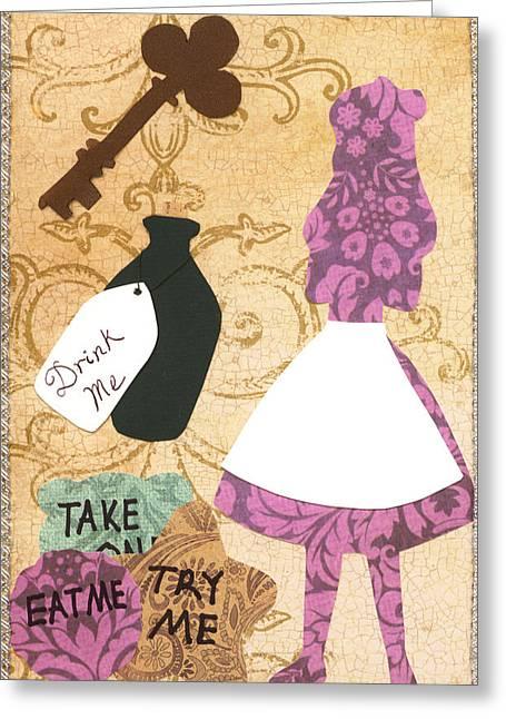 Drink Me Eat Me Greeting Card by Savannah Bertozzi