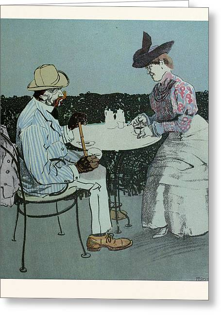 Drinking Coffee. Man, Woman, Coffee, Table, Coffee Pot Greeting Card by Gotz, Ferdinand (1874-1936), German