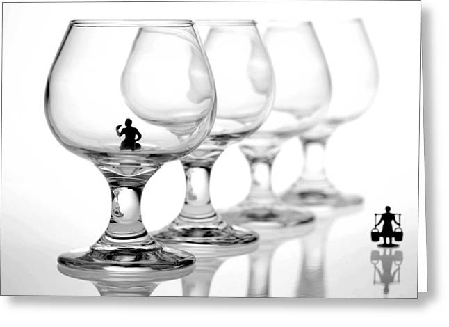Drinking In Cups Greeting Card