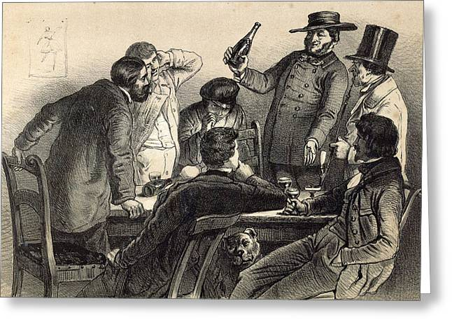 Drinking The Bottles In Germany, 19th Century Lithography Greeting Card