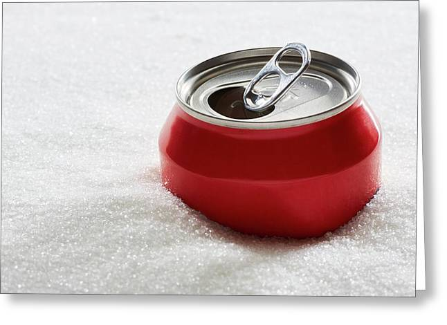 Drinks Can In Sugar Greeting Card by Kevin Curtis/science Photo Library