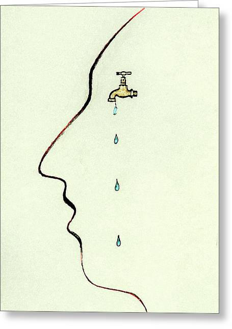 Dripping Faucet On Human Face Greeting Card