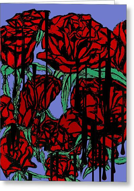 Dripping Red Roses On Parade Greeting Card by Tiffany Selig