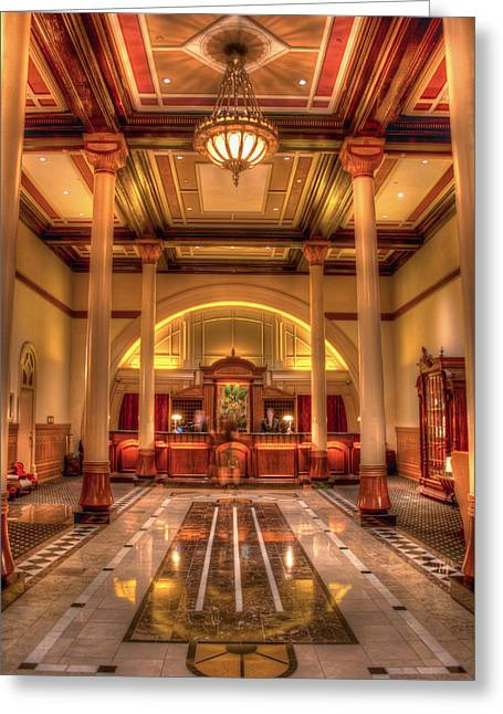 Driskill Hotel Check-in Greeting Card by Tim Stanley