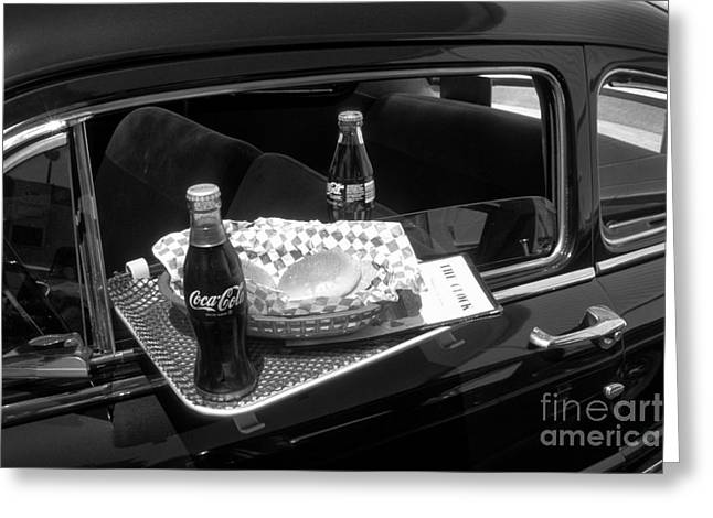 Drive-in Coke And Burgers Greeting Card