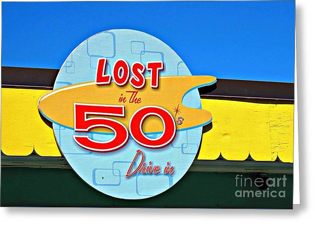 Drive-in Diner Sign Greeting Card by Ethna Gillespie