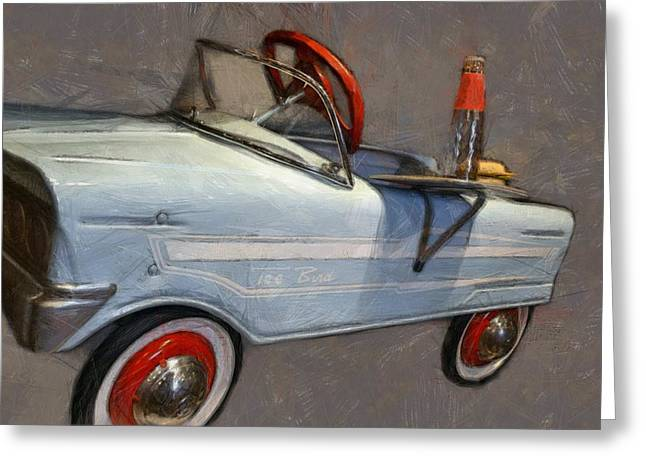 Drive In Pedal Car Greeting Card by Michelle Calkins