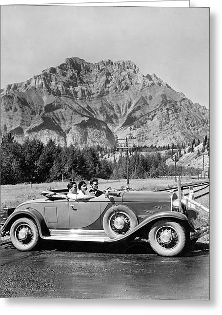 Drive In The Canadian Rockies Greeting Card by Underwood Archives