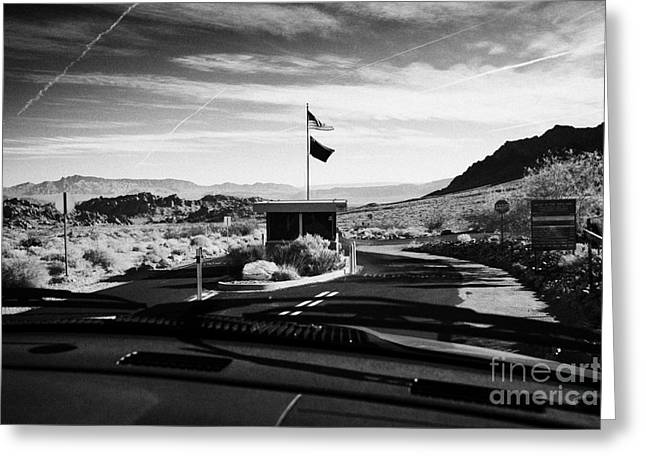Driving Along Road Down To Entrance To Valley Of Fire State Park Valley Of Fire Highway Nevada Usa Greeting Card