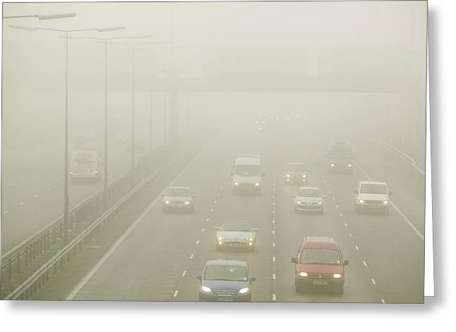Driving In Fog On The M1 Motorway Greeting Card