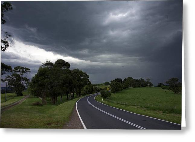 Driving Into A Storm Greeting Card by Lee Stickels