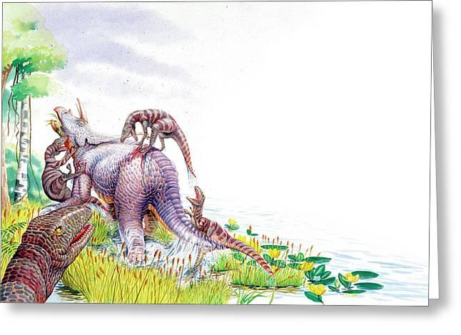 Dromaeosauruses Attacking Greeting Card by Deagostini/uig