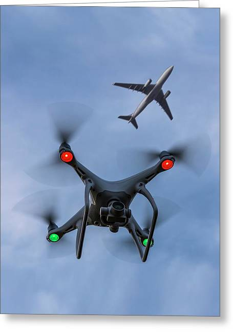 Drone And Airliner Greeting Card