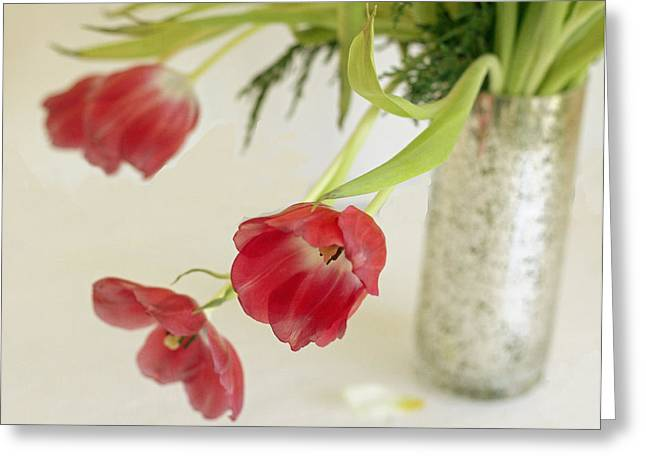 Greeting Card featuring the photograph Drooping Tulips by Rosemary Aubut