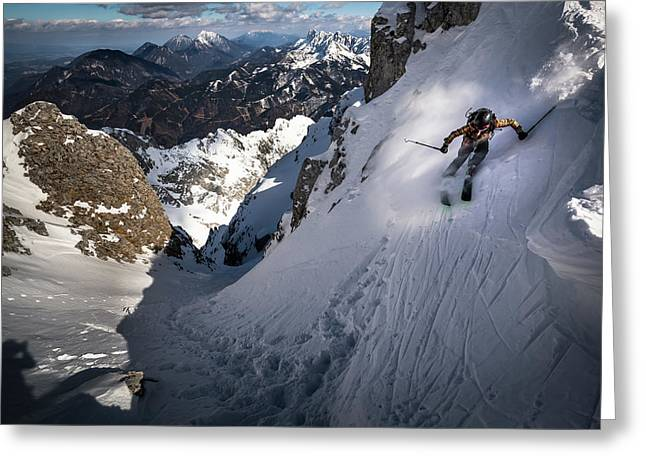 Drop Into Couloir Greeting Card by Sandi Bertoncelj