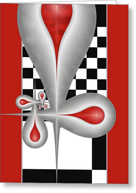 Greeting Card featuring the digital art Drops On A Chess Board by Gabiw Art