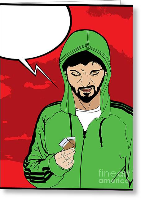 Drug Addict Comic Style Greeting Card by Richard Laschon