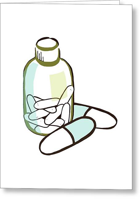 Drug Bottle And Pills Greeting Card