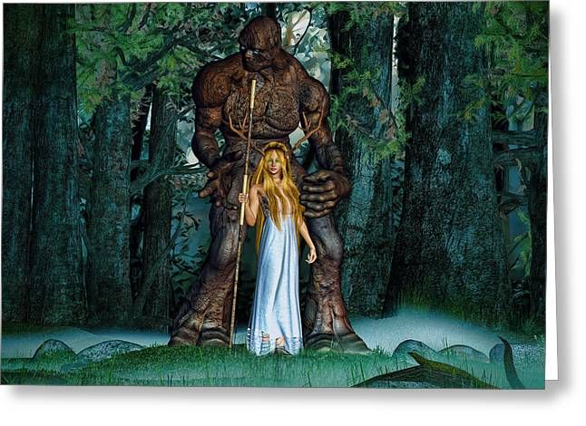 Druidess And Her Clay Golem Greeting Card by K I M