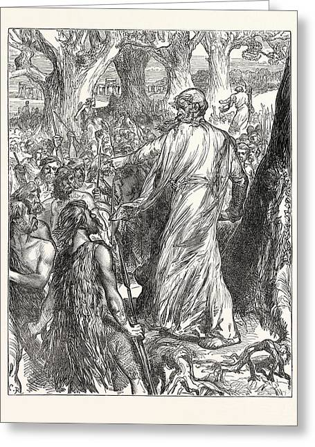 Druids Inciting The Britons To Oppose The Landing Greeting Card by English School