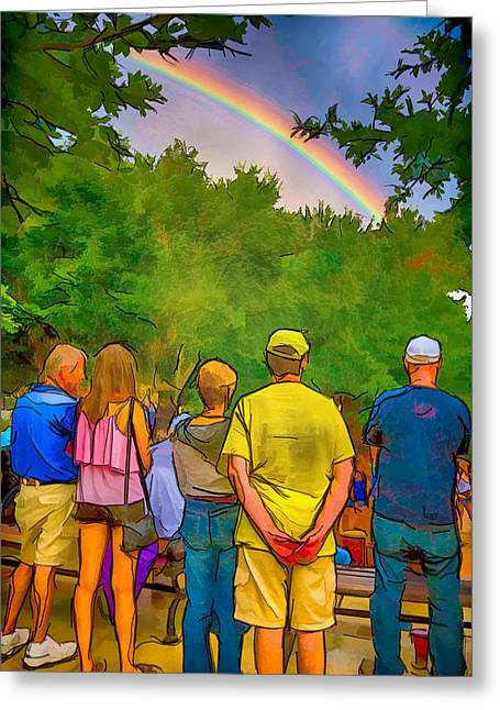 Drum Circle Rainbow Greeting Card by John Haldane