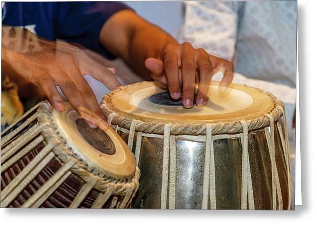 Drum Player's Hands, Varanasi, India Greeting Card