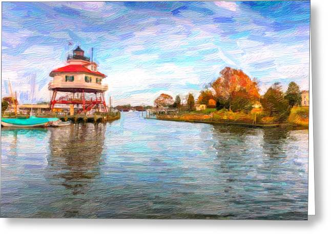 Drum Poiint Lighthouse Oil Abstract Greeting Card