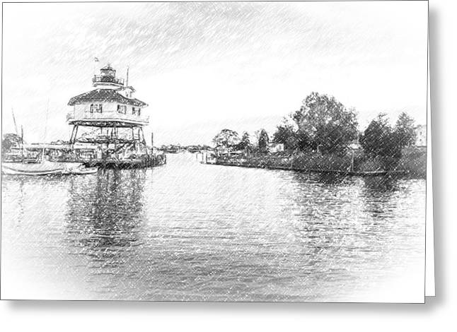 Drum Poiint Lighthouse Pencil Sketch Greeting Card